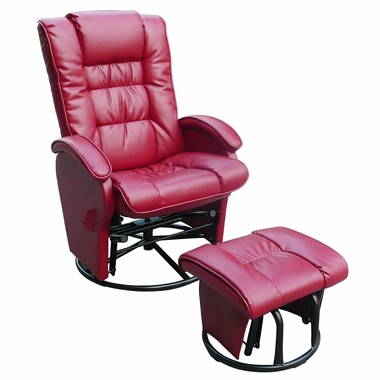 Magnificent Dezmo Push Back Bonded Leather Recliner Glider Rocker With Swivel And Ottoman In Red Creativecarmelina Interior Chair Design Creativecarmelinacom