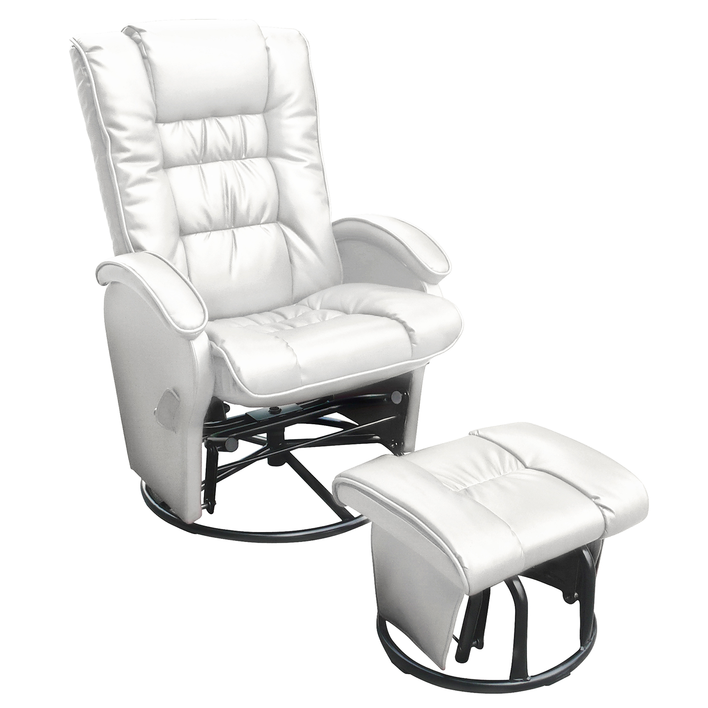 Dezmo Push Back Bonded Leather Recliner Glider Rocker with Swivel and Ottoman in White FREE SHIPPING  sc 1 st  Simply Baby Furniture & Dezmo Push Back Bonded Leather Recliner Glider Rocker with Swivel ... islam-shia.org