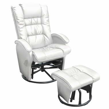 Miraculous Dezmo Push Back Bonded Leather Recliner Glider Rocker With Swivel And Ottoman In White Andrewgaddart Wooden Chair Designs For Living Room Andrewgaddartcom