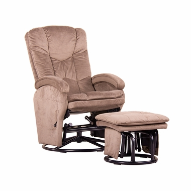 Dezmo Push Back Microfiber Recliner Glider Rocker with Swivel and Ottoman in Brown