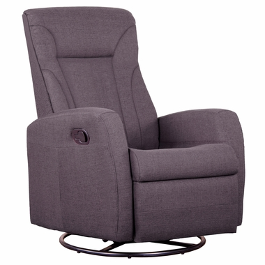 Dezmo Push Back Microfiber Recliner Glider Rocker with Swivel and Ottoman in Charcoal