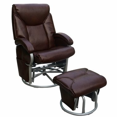 Dezmo Push Back Recliner Bonded Leather Swivel Glider With