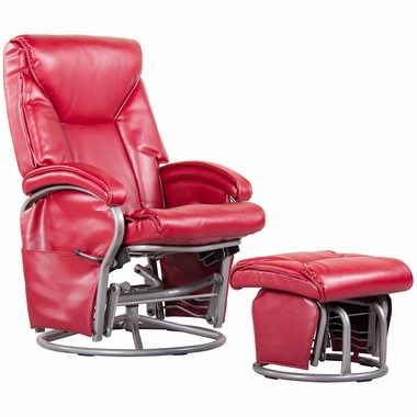 Dezmo Push Back Recliner Bonded Leather Swivel Glider With Matching Ottoman  In Red   Click To