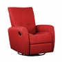 Dezmo Push Back Swivel Glider Recliner Microfiber Fabric in Beige
