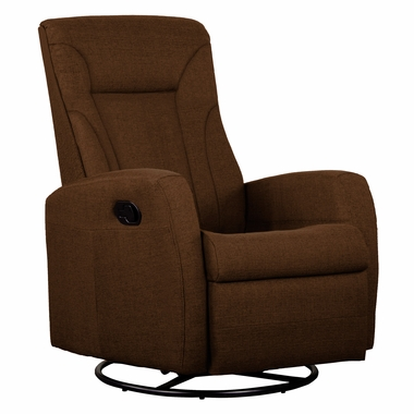 Dezmo Push Back Swivel Glider Recliner Microfiber Fabric in Brown - Click to enlarge