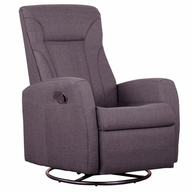 Dezmo Push Button Recline Glider and Swivel Arm Chair with Micro-Fiber Fabric in Charcoal