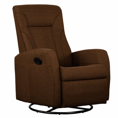 Dezmo Push Button Recline Glider and Swivel Arm Chair with Microfiber Upholstery in Brown