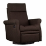 Dezmo Push Button Recline Swivel Glider Arm Chair with Microfiber Fabric in Brown