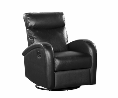 Dezmo Push Button Swivel Glider Recliner in Black Leather