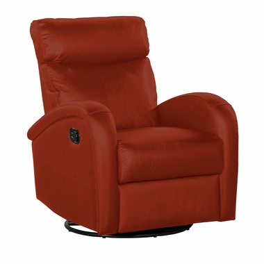 Dezmo Push Button Swivel Glider Recliner In Red Leather