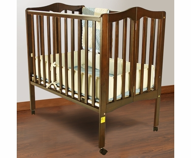 Dream on Me 2 in 1 Lightweight Folding Portable Crib in Espresso