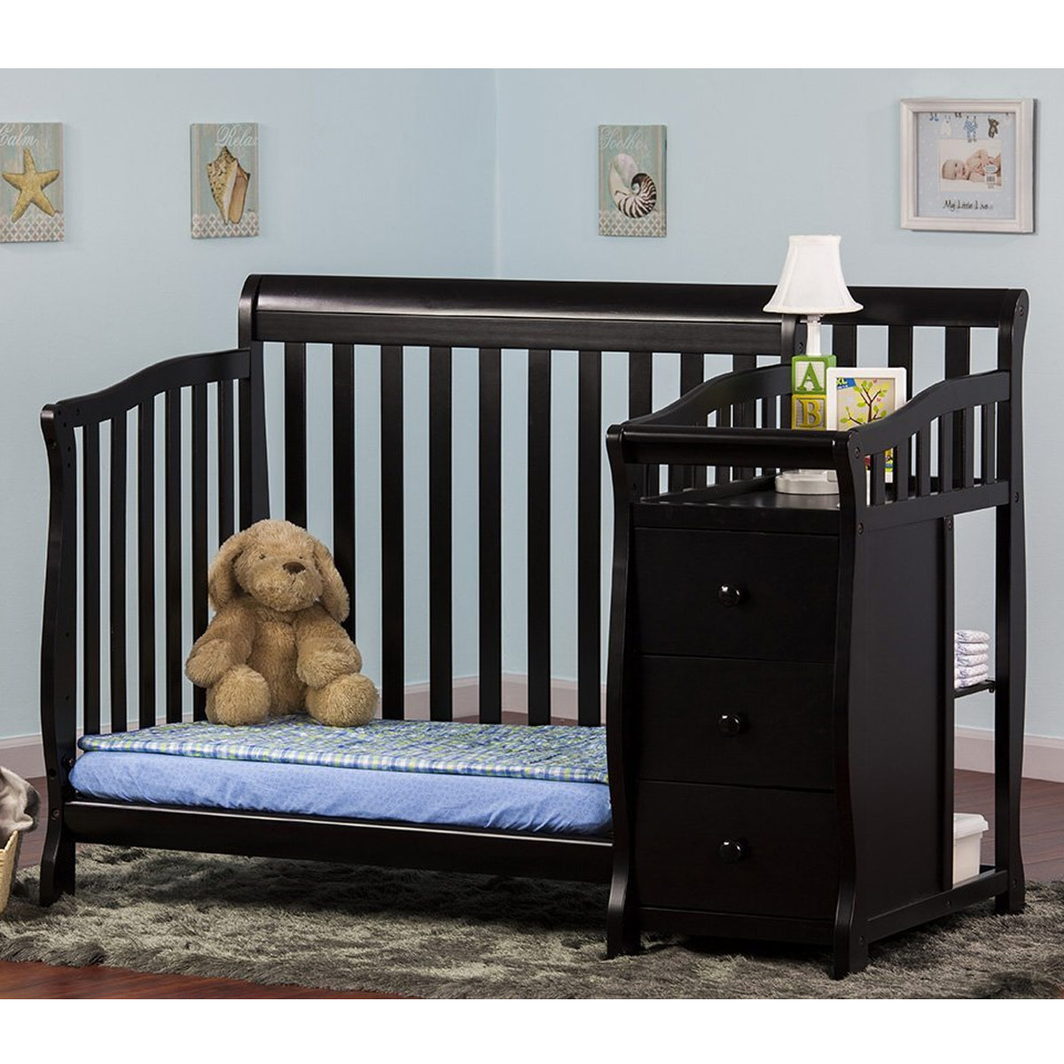 Dream On Me Jayden 2 In 1 Convertible Baby Crib With Changer In Black FREE  SHIPPING