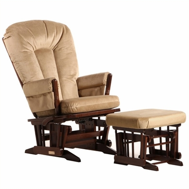 Dutailier Coffee 2 Post Glider-Multiposition, Recline and Nursing Ottoman Set with Light Brown Cushions