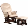 Dutailier Coffee 2 Post Glider-Multiposition, Recline and Ottoman Set with Light Beige Cushions
