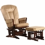 Dutailier Coffee 2 Post Glider-Multiposition, Recline and Ottoman Set with Light Brown Cushions