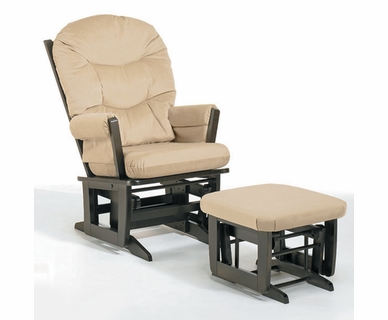 Dutailier Espresso Modern Glider and Ottoman Set with Light Beige Cushions