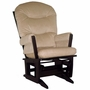 Dutailier Espresso Modern Glider with Light Beige Cushions