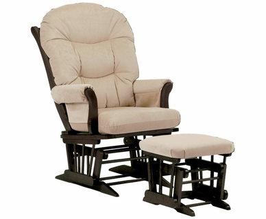 Dutailier Espresso Sleigh Glider and Ottoman Set with Light Beige Cushions