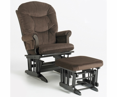 Dutailier Espresso Sleigh Glider and Ottoman Set with Chocolate Cushions
