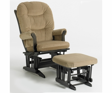 Dutailier Espresso Sleigh Glider-Multiposition and Ottoman Set with Light Brown Cushions