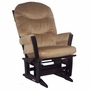 Dutailier Espresso Sleigh Glider-Multiposition with Light Brown Cushions