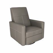 Dutailier Minho Upholstered Glider Recliner with Built-in Footrest in Matte Black with Castle Grey Fabric