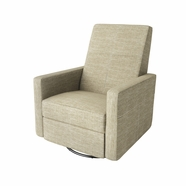 Dutailier Minho Upholstered Glider Recliner with Built-in Footrest in Matte Black with Putty Beige Fabric