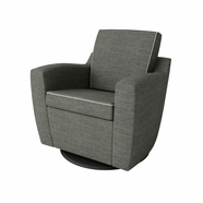 Dutailier Minho Upholstered Swivel Glider in Matte Black with Dolphin Grey Fabric