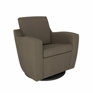 Dutailier Minho Upholstered Swivel Glider in Matte Black with Pebble Taupe Fabric