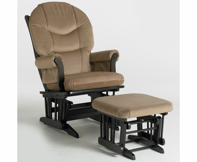 Dutailier Sleigh Espresso Glider & Ottoman Set with Light Brown Microfiber Cushions