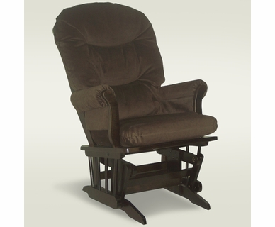 Dutailier Sleigh Glider in Espresso with Brown Microfiber Cushions