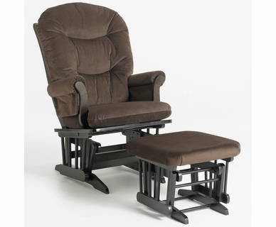 Dutailier Sleigh Glider & Ottoman Set in Espresso with Brown Microfiber Cushions