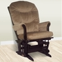 Dutailier Sleigh Multiposition Glider in Espresso with Light Brown Cushions