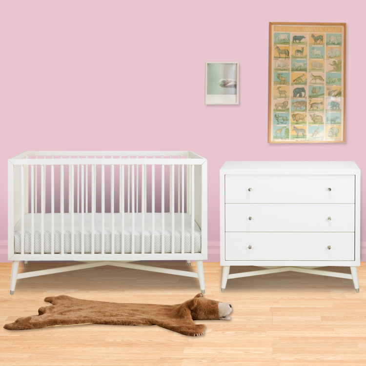 Dwellstudio 2 Piece Nursery Set Mid Century Crib And Dresser In French White Free Shipping