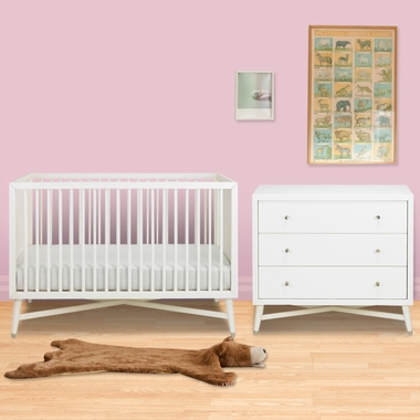 Dwellstudio 2 Piece Nursery Set Mid Century Crib And Dresser In French White