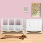 DwellStudio 2 Piece Nursery Set - Mid-Century Crib and Dresser in French White