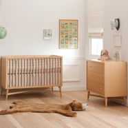DwellStudio 2 Piece Nursery Set - Mid-Century Crib and Dresser in Natural