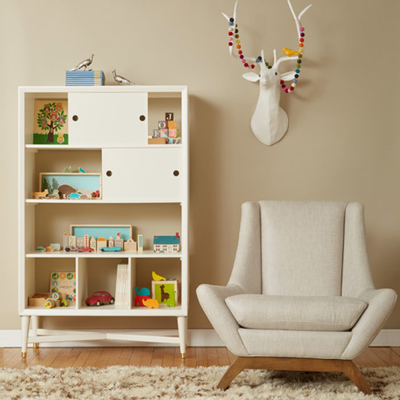 DwellStudio Mid Century Bookcase in French White FREE SHIPPING