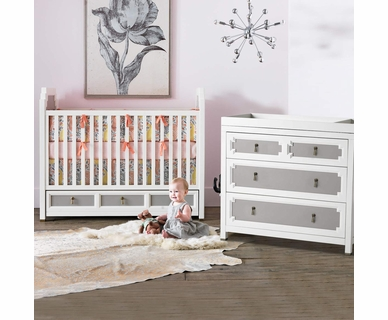 DwellStudio Vanderbilt 2 Piece Nursery Set - Convertible Crib and Dresser in French Gray