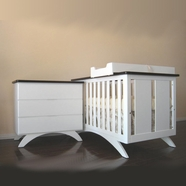 Eden Baby 2 Piece Nursery Set - Madison Convertible Crib and Dresser in Espresso and White
