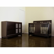 Eden Baby 2 Piece Nursery Set - Melody Convertible Crib and Dresser in Dark Espresso