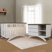 Eden Baby Madison 2 Piece Nursery Set - 3 in 1 Convertible Crib and Combo Dresser in Espresso / White