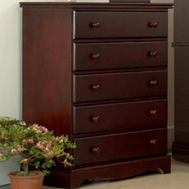 Eden Baby Savannah 5 Drawer Chest In Dark Cherry Click To Enlarge