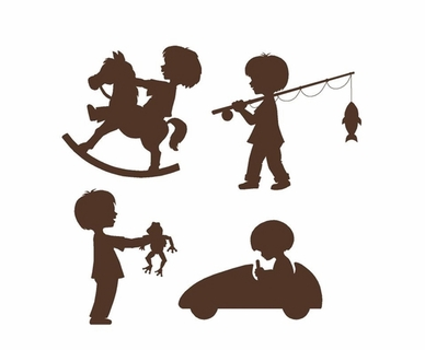 Elephants on the Wall Silhouettes Silhouette Boys Paint by Number Wall Murals