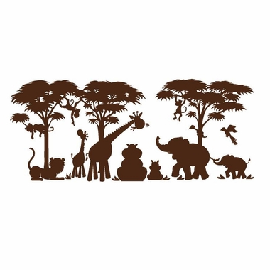 Elephants on the Wall Silhouettes Small Silhouette Safari Paint by Number Wall Murals