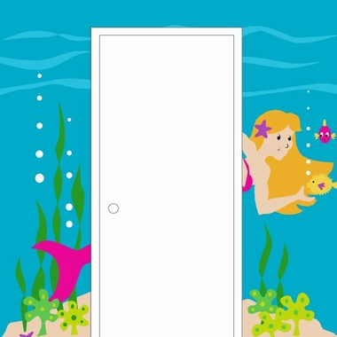 Elephants on the Wall Underwater Antics Mermaid Doorhugger Paint by Number Wall Murals