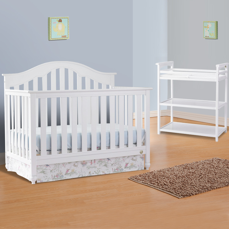 Fisher Price 2 Piece Nursery Set Kingsport 5 In 1 Convertible Crib And Dressing Table Snow White