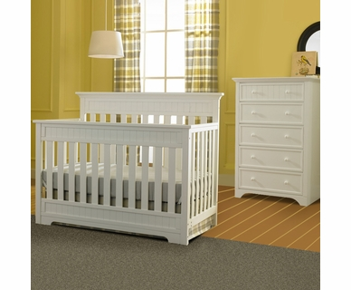 Fisher Price 2 Piece Nursery Set - Lakeland 5 in 1 Convertible Crib and 5 Drawer Dresser in Snow White