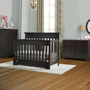 Fisher Price 3 Piece Nursery Set - Lakeland 5 in 1 Convertible Crib, 5 Drawer Dresser and Double Dresser in Espresso