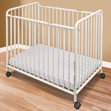 Foundations Compact Steel Non-Folding Crib with Slatted Ends in White